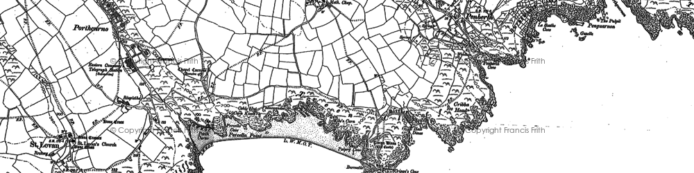 Old map of Logan Rock in 1906