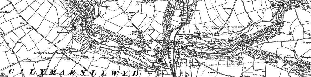 Old map of Afon Taf in 1887