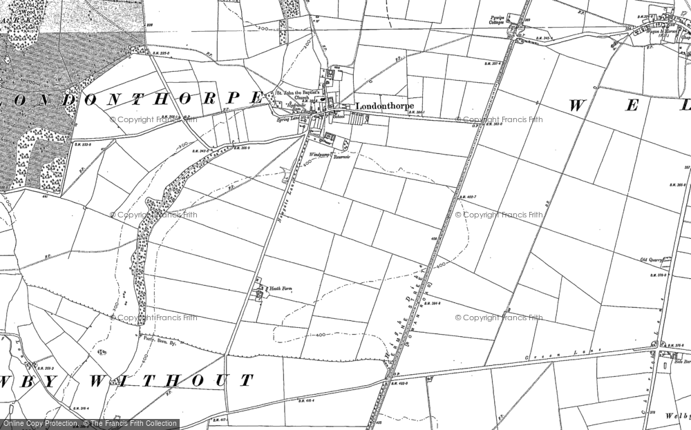 Old Map of Historic Map covering Alma Wood in 1885