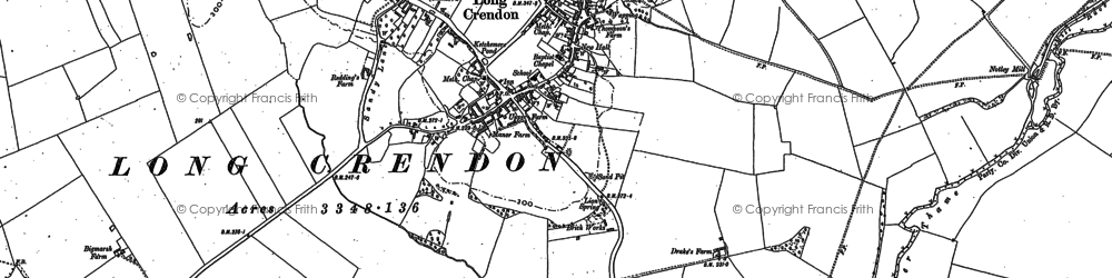 Old map of Long Crendon in 1919
