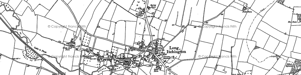 Old map of Long Itchington in 1885