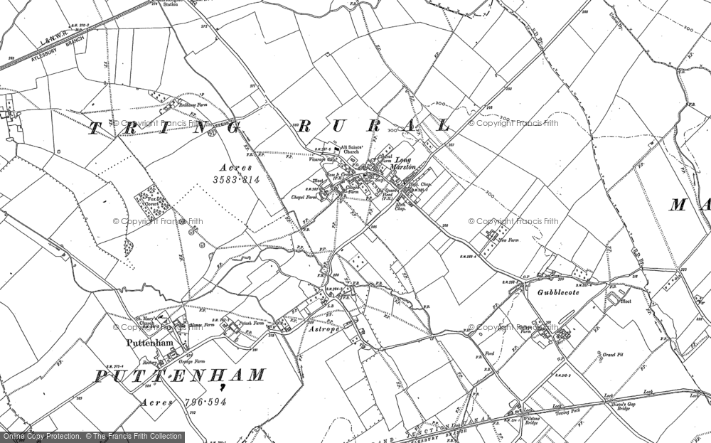 Old Map of Historic Map covering Aylesbury Ring in 1922