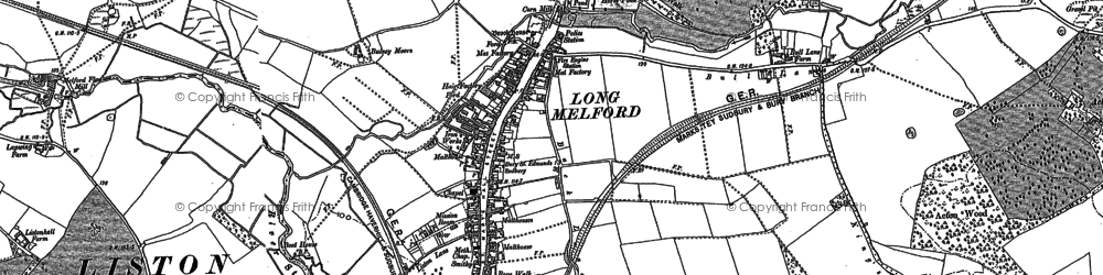 Old map of Long Melford in 1885