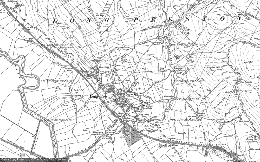 Old Map of Long Preston, 1907 in 1907