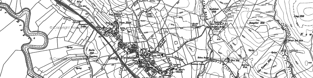 Old map of Long Preston in 1907