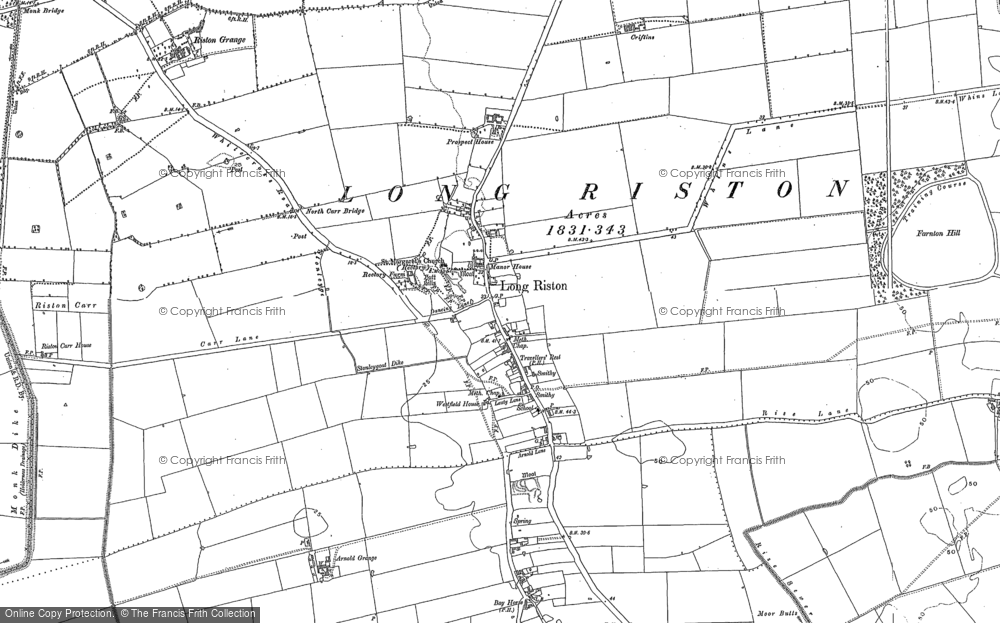 Old Map of Long Riston, 1889 - 1908 in 1889