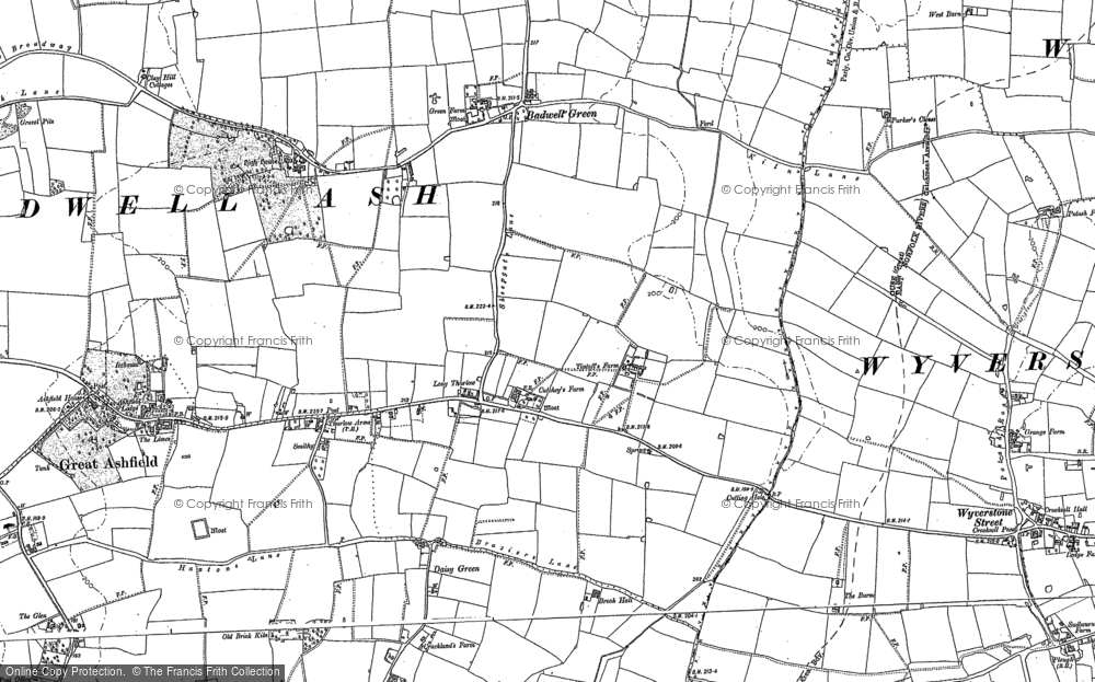 Old Map of Historic Map covering Badwell Green in 1884