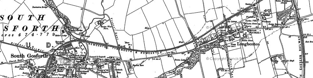 Old map of Longbenton in 1895