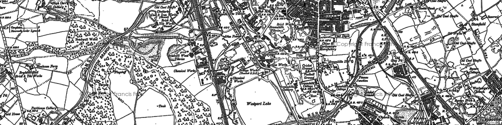 Old map of Westport Lake in 1878