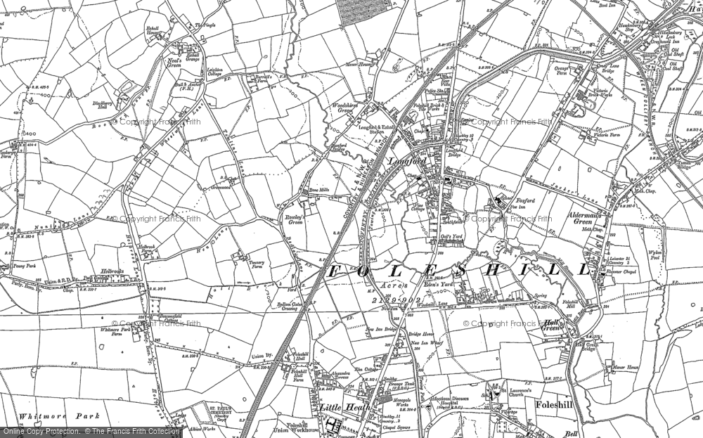 Old Map of Historic Map covering Alderman's Green in 1886