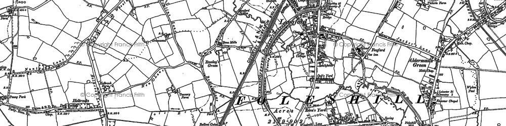 Old map of Alderman's Green in 1886
