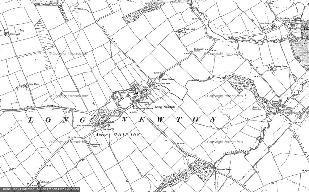 Old Map of Historic Map covering Larberry Pastures in 1913