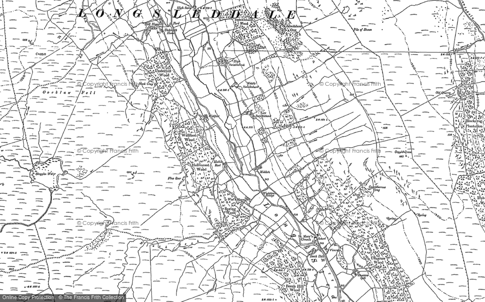 Old Map of Historic Map covering Bannisdale Beck in 1897