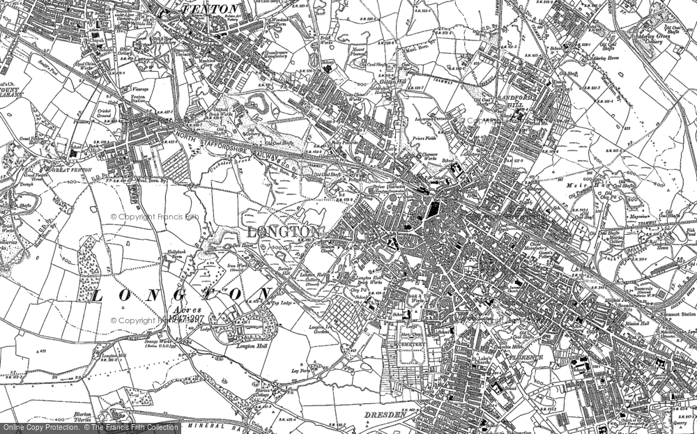 Old Map of Historic Map covering Adderley Green in 1877
