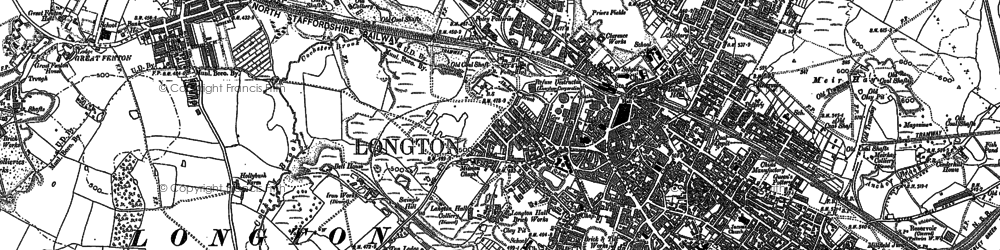 Old map of Longton in 1877