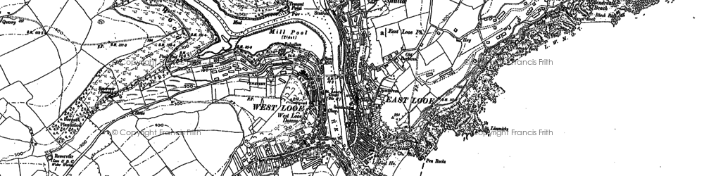 Old map of Looe in 1881