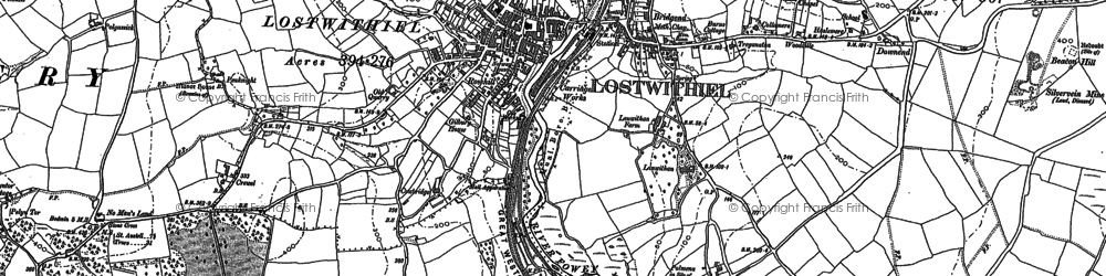 Old map of Lostwithiel in 1881