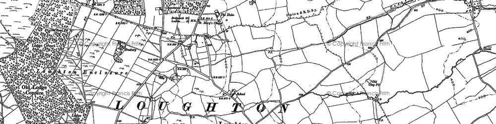 Old map of Wheathill Brook in 1883