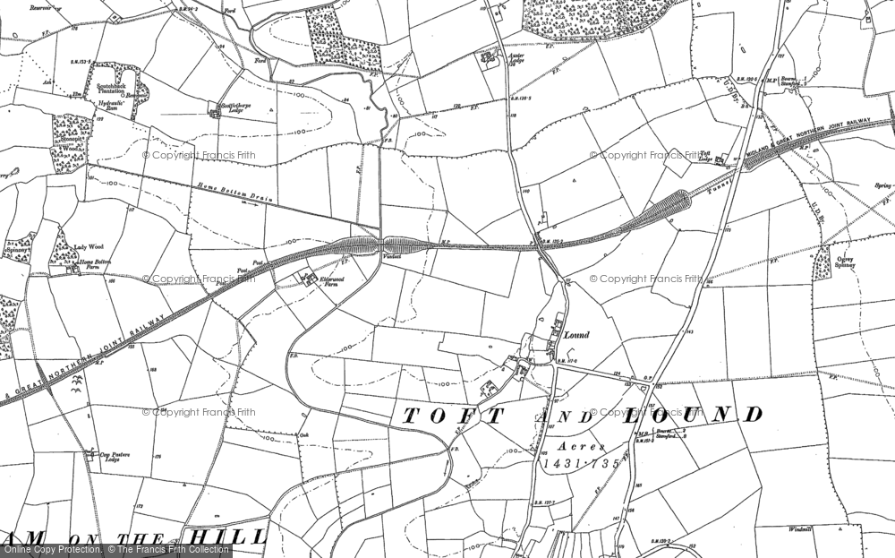 Old Map of Historic Map covering Auster Lodge in 1886