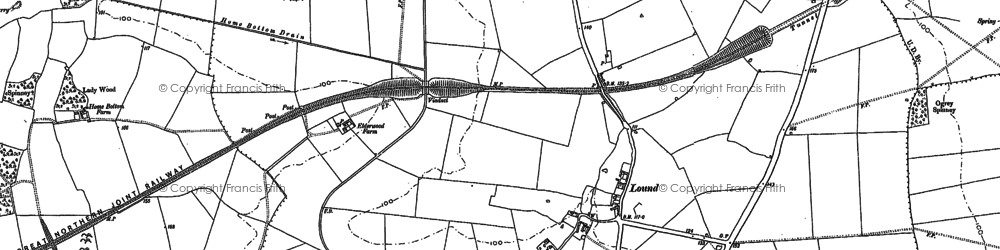 Old map of Auster Wood in 1886