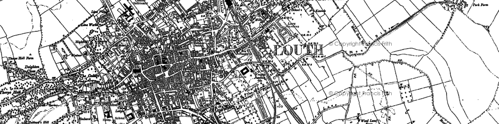 Old map of Louth in 1886