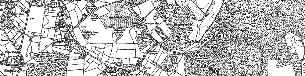 Old map of Langley Wood in 1900