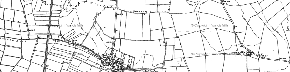 Old map of Low Burnham in 1885