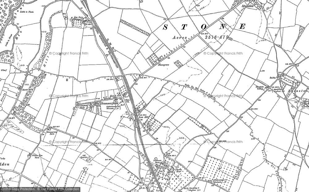 Old Map of Historic Map covering Leapgate in 1883