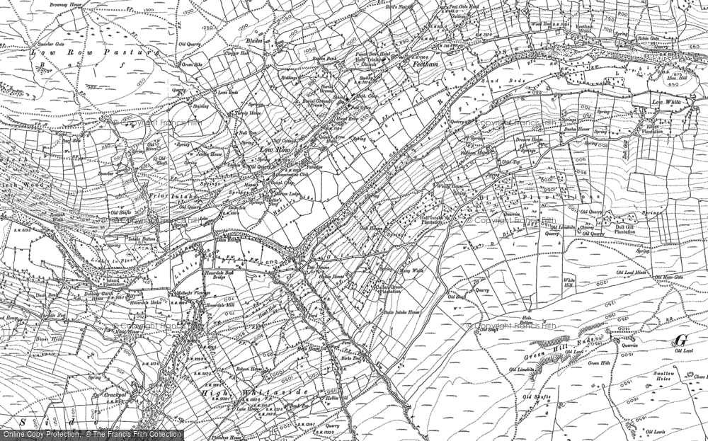 Old Map of Historic Map covering Aberdene Tarn in 1892