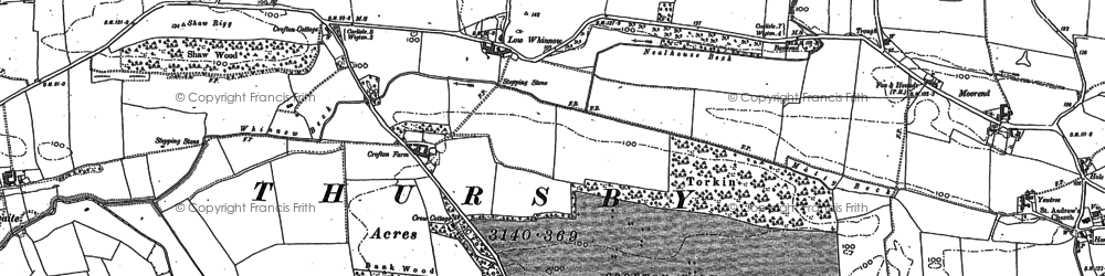 Old map of Whinnow Beck in 1890
