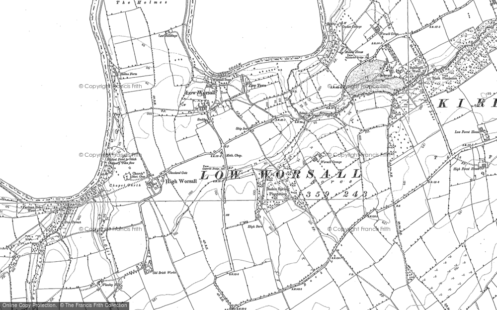 Old Map of Historic Map covering Aislaby Grange in 1893
