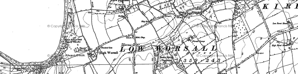 Old map of Aislaby Grange in 1893