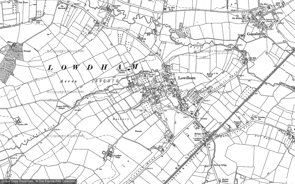 Old Map of Historic Map covering Barker Hill in 1883