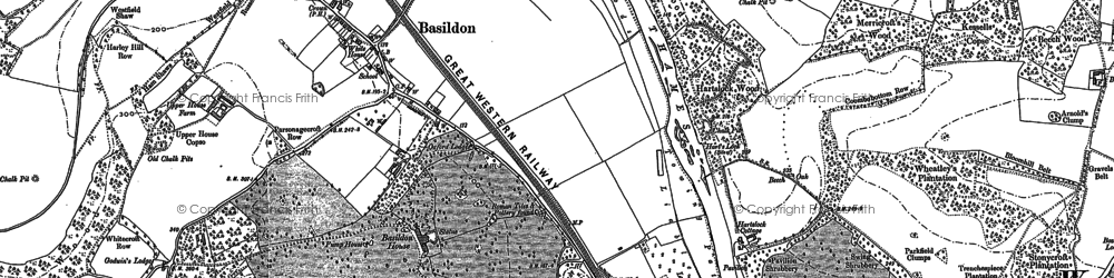 Old map of Lower Basildon in 1910