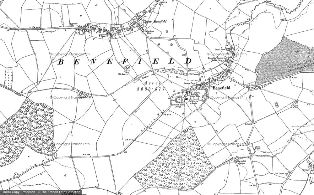 Old Map of Historic Map covering Banhaw Wood in 1884