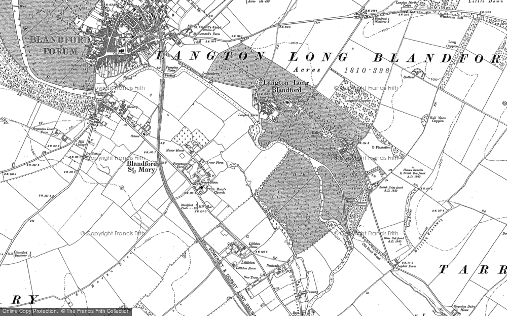 Old Map of Historic Map covering Langton Long in 1887