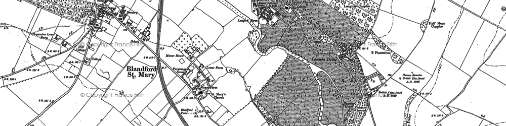 Old map of Langton Long in 1887