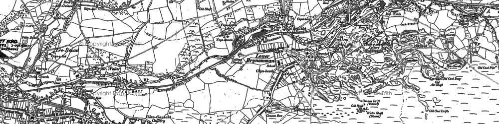 Old map of Lower Brynamman in 1905