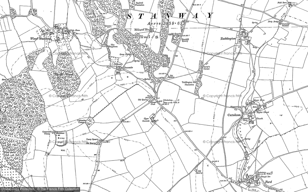 Old Map of Historic Map covering Lidcombe Wood in 1883