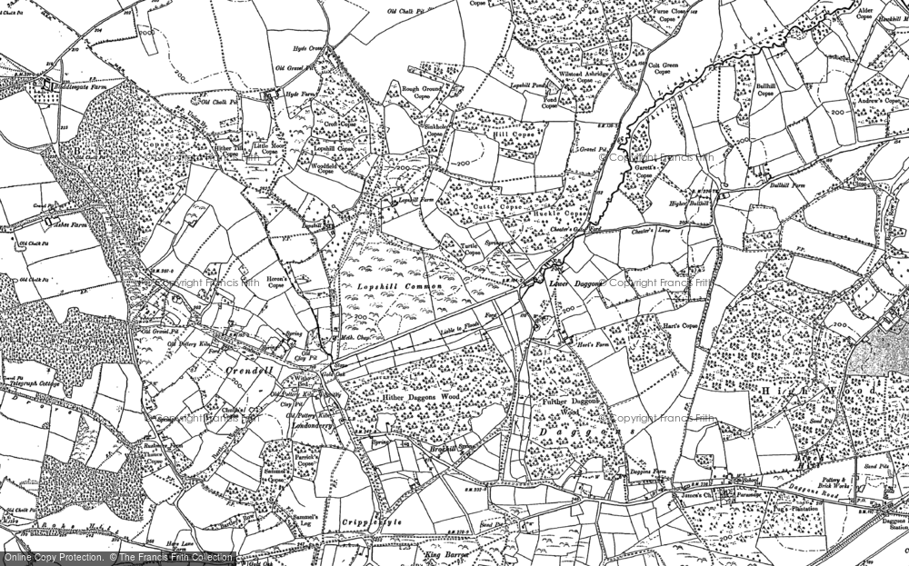 Old Map of Historic Map covering Ashridge Copse in 1900