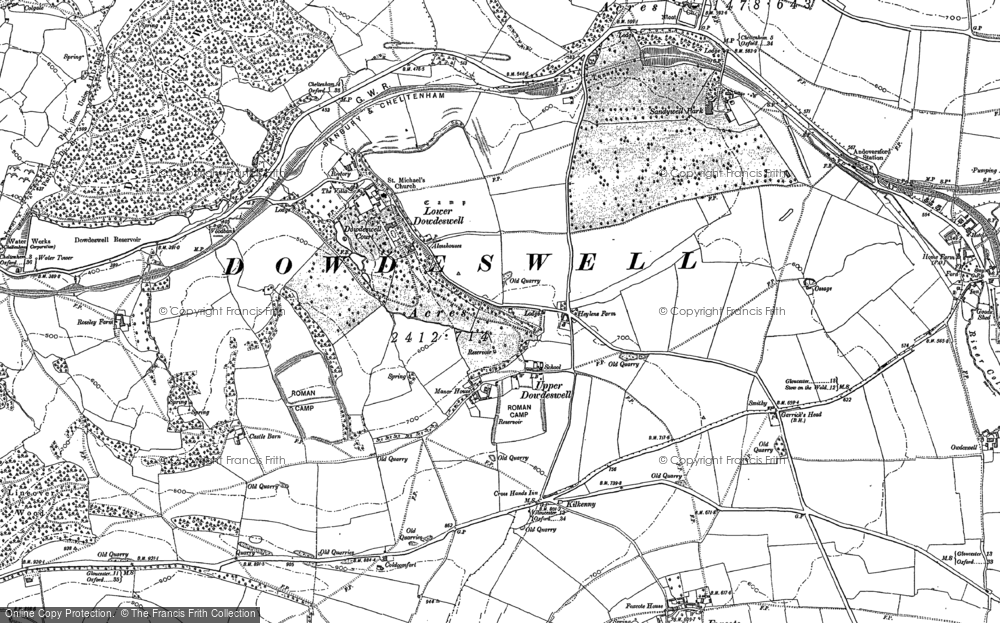 Old Map of Historic Map covering Lineover Wood in 1883