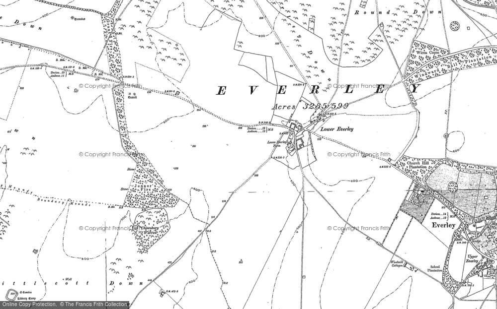 Old Map of Historic Map covering Abbots Down in 1899