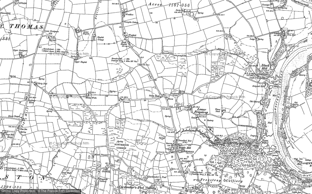 Old Map of Historic Map covering Woodbine in 1888