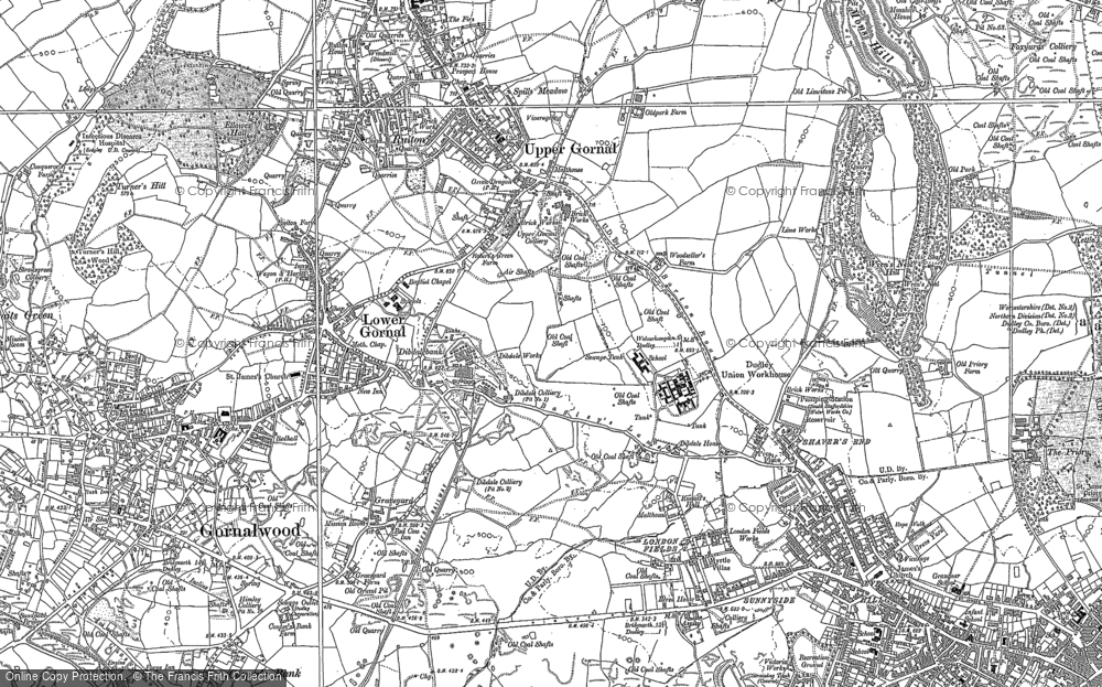 Old Map of Historic Map covering Baggeridge Country Park in 1881