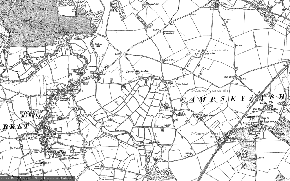 Old Map of Historic Map covering Ash Corner in 1883