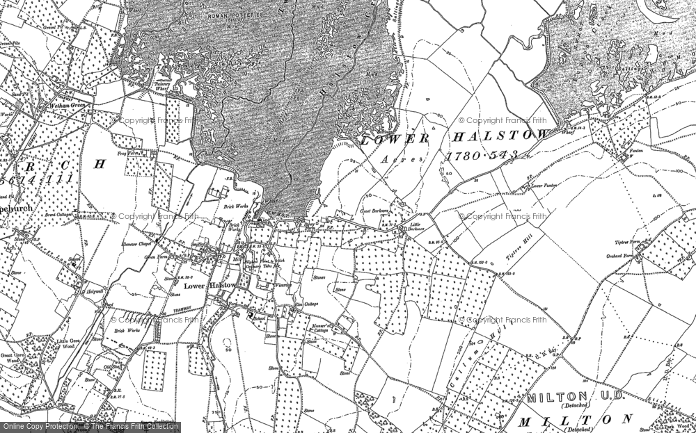 Old Map of Historic Map covering Barksore Marshes in 1896
