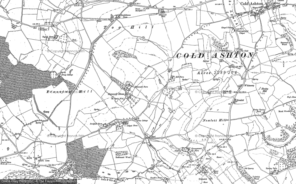 Old Map of Historic Map covering Tog Hill in 1901