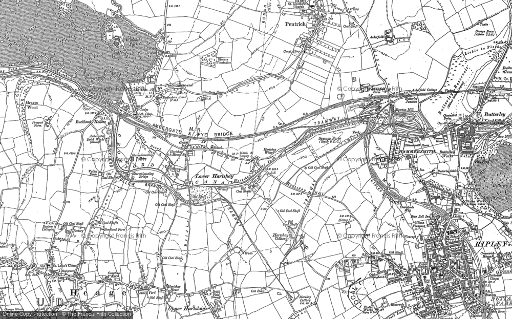 Old Map of Lower Hartshay, 1879 - 1880 in 1879