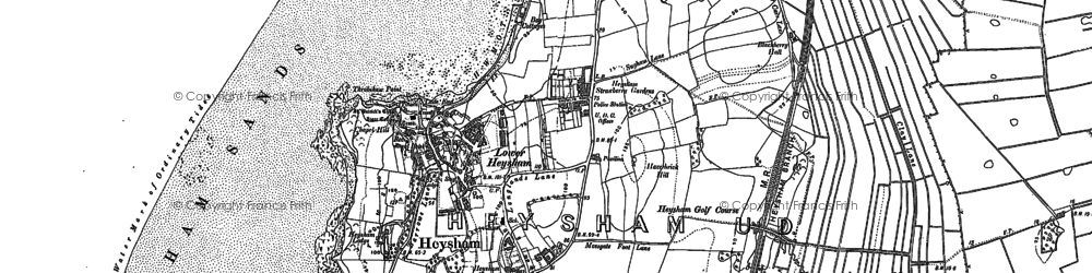 Old map of Lower Heysham in 1910