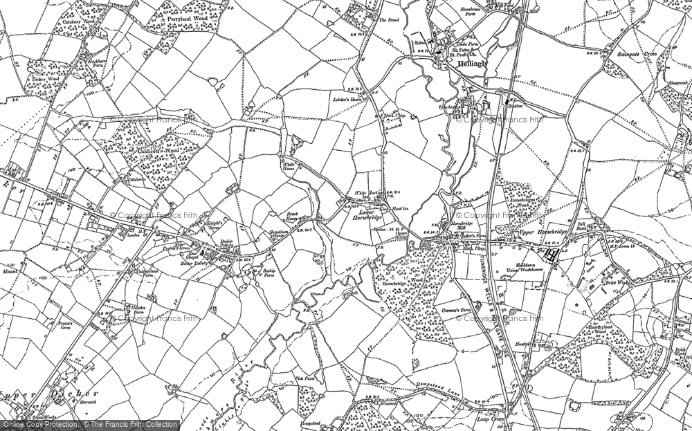 Old Map of Historic Map covering Tile Hurst in 1898